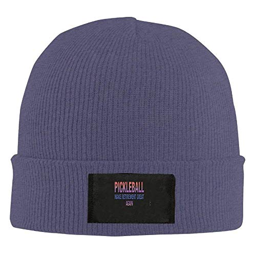 LOZWES Pickleball Make Retirement Great Again.PNG New Winter Hats Knitted Twist Cap Thick Beanie Hat Navy