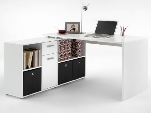 Schreibtisch Arbeitstisch Computertisch Eckschreibtisch Winkeltisch Eiche Weiß (Weiß) -