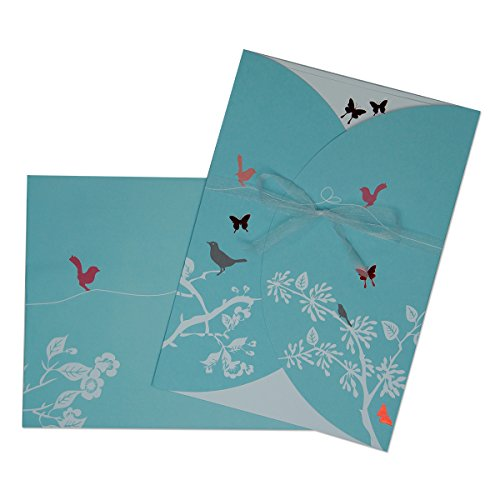 20 Einladungskarten - Set Mariposa - Hochzeit, Geburtstag, Taufe - mit Schmetterlingen und Schleife - inkl. Onlinevorlagen zum einfachen Selbstbedrucken