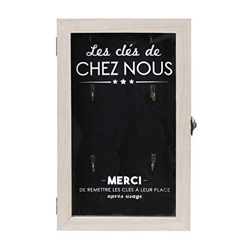 THE HOME DECO FACTORY HD4677 Boite à Clés, Bois, Beige-Noir, 19,5 x 5 x 30 cm