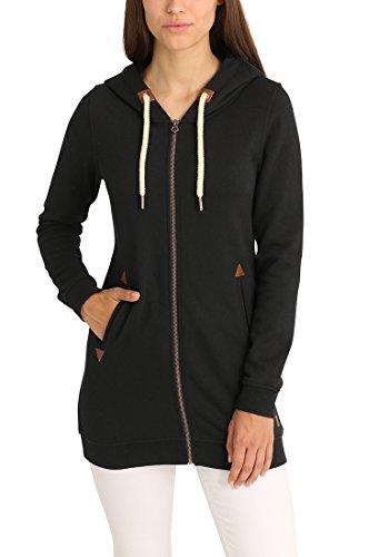DESIRES Vicky Straight-Zip Damen Lange Sweatjacke Kapuzenjacke Sweatshirtjacke Mit Kapuze Und Fleece-Innenseite, Größe:S, Farbe:Black (9000) - 2