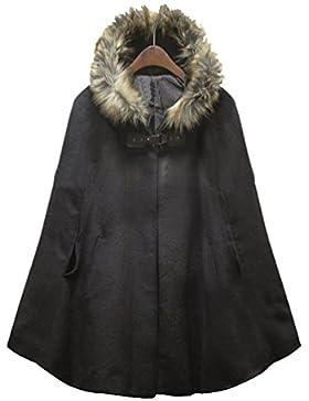 WanYang Moda Retro Abrigo De Mujer Otoño Invierno Mujeres Casual Chaqueta Encapuchado Abrigos