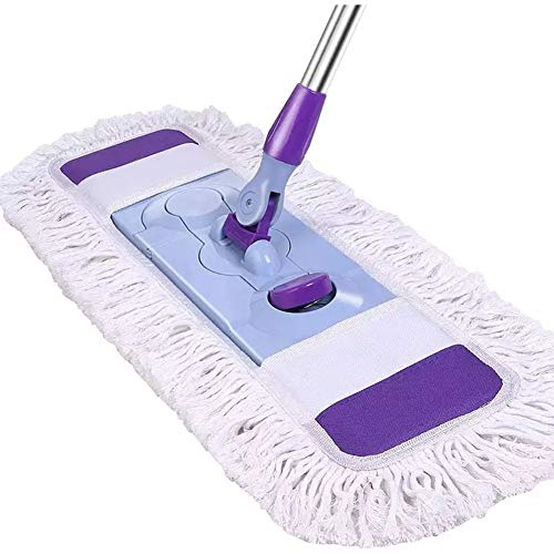Qaq piatto retrattile sovradimensionato mop filo in microfibra di cotone rotazione di 180° senza punti morti,purple,onesize