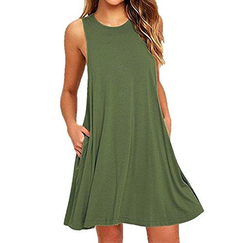 West See Damen Strandkleid Sommerkleid Tank Kleid Ausgestelltes Trägerkleid Knielang Grün