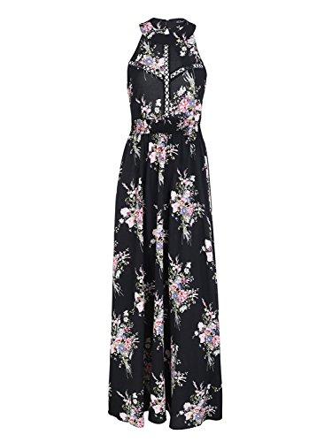 Missy Chilli Damen Lang Kleid Sommer Elegant Ärmellos Neckholder Blumen Rückenfrei Chiffon Maxi Kleid Dress mit Schnürung Schwarz