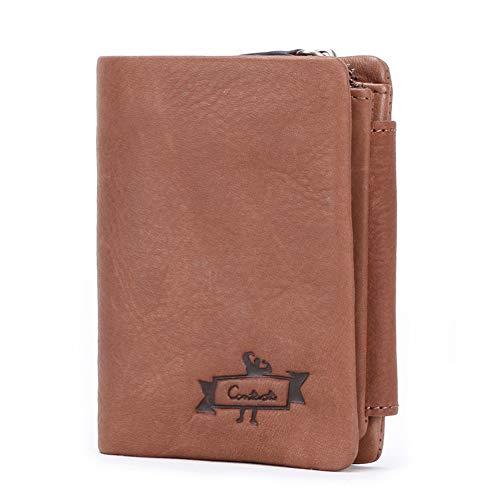 Brown Italienischen Leder Handgefertigt (SJZC Leder Brieftasche Herren Echtes Leder Brieftasche Dreifachgefaltete, schlanke Brieftasche Kreditkartenschlitz Handgefertigt Hochwertiges italienisches Leder Vatertag,Brown)