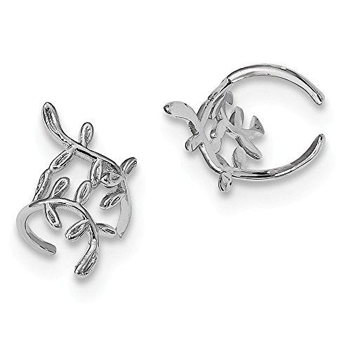 Ohrringmanschette Sterling-Silber 925 rhodiniert Blatt-Design 15 mm breit 10 mm (10k Rose Diamond Gold Ring)