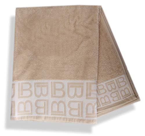 Frottee-Set 2 Stück 1+1 Gästehandtücher 40 x 60 + Handtuch 60 x 100 Waschhandschuh 100% reine Baumwolle Jacquard Agave Logo Beige - Beige Logo Jacquard