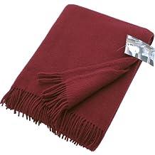 2af5368bc94 Plaid rouge bordeaux - 100 % laine vierge