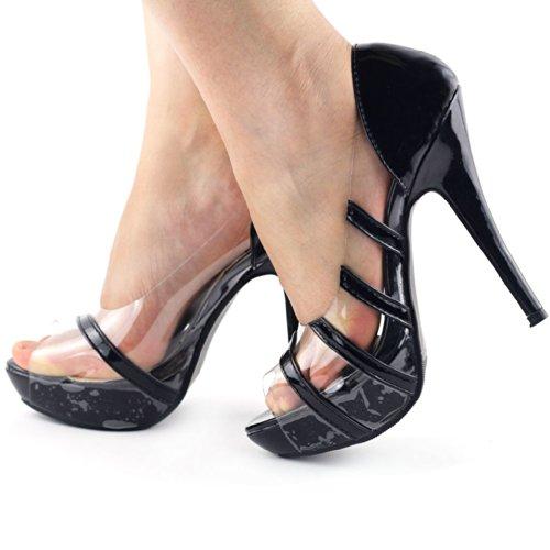 Voir L'histoire Peep Toe Chaussures À Semelle Plate Talon Haut Talon Verni Transparent, Lf30452 Noir