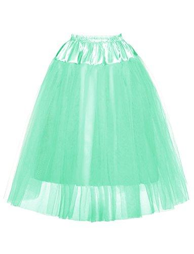 DYSS Donna 1950 Sottotetto in tulle Layered Sottovesti scivola Crinolina Vestito lungo menta verde
