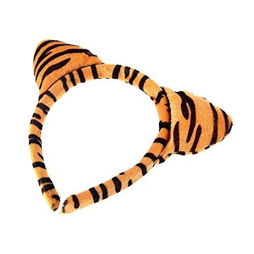 Imagen de anself halloween leopardo de peluche fluffy orejas de gato diadema pajarita cola animal disfraz accesorios–juego de accesorios para fiestas de decoración alternativa