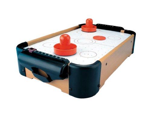 Solex Micro Air-Hockeytisch Spieltisch Gleithockey mit Luft-Gebläse Set Tischhockey mit Mini Hockey Tisch Schiebern Pucks