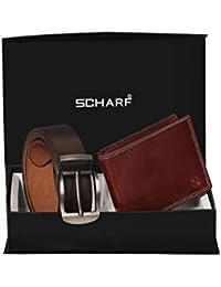 Scharf Men's Leather Belt & Wallet Combo (Brown, Free Size)