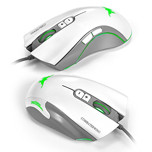 Combaterwing CW10 4800 dpi Wired Gaming Mouse Mice 7 LED colores cambiantes respiraci¨n dise?o 6 botones de alta precisi¨n para Gamer PC MAC(Blanco)