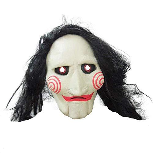 YaPin Erwachsene Kettensäge Schrecken mit Gefälschte Haar Kettensäge Töten Mad Töten Hand Sets Halloween Cosplay Horror Latex Maske Weiblich (Mad Masken Monster)