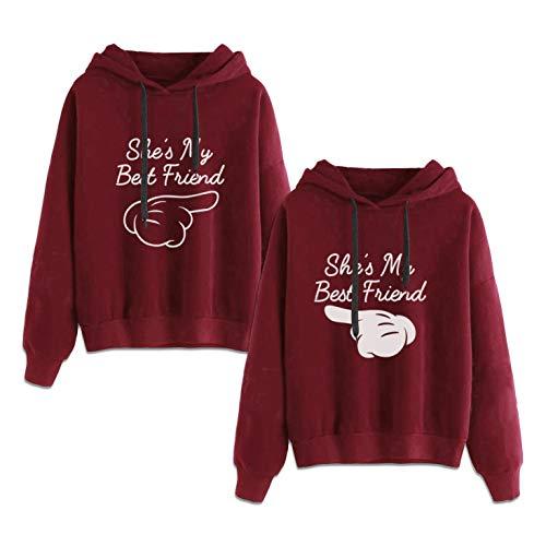 Beste Freunde Kapuzenpullis für Zwei Damen Best Friends Pullover Damen BFF Sweatshirts Sister Pulli Hoodie mit Kapuze 2 stücke(Rot,Rot-Finger-M+weiß-Finger-M)