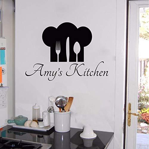 Wandaufkleber Schlafzimmer Personalisierte Name & Chef Hut Utensilien Küche Cuision Koch Esszimmer benutzerdefinierte Name Aufkleber