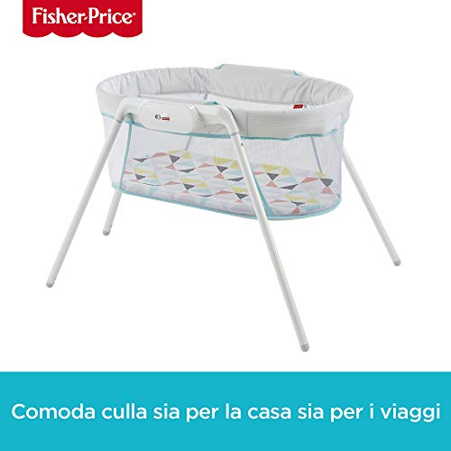 Fisher-Price - Dolci Sogni Culla per Neonati, Include Gambe Rimovibili e 1 Pratica Borsa da Viaggio, Multicolore, GBR67