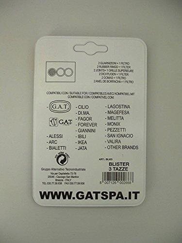 GAT 2 GUARNIZIONE 1 FILTRO UNIVERSALE MOKA 3 TAZZE COMPATIBILE ALESSI IKEA BIALETTI GIANNINI DI.MA. LAGOSTINA ECC ECC