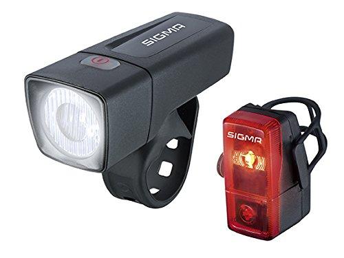 Sigma Sport LED Batterie Fahrradbeleuchtung AURA 25/CUBIC SET, 25 LUX/400 m Sichtbarkeit, batteriebetriebene Fahrradlampe + Rücklicht, StVZO zugelassen, Schwarz