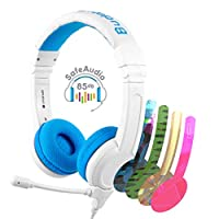 BuddyPhones SCHOOL PLUS - Volume-Safe Audio Headset for Kids, Foldable, Adjustable, w/Detachable 3.5mm Jack & High-Performance Beam Microphone, Perfect for Home/On-line Study, Super Durable - Blue