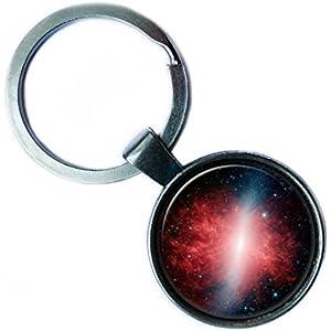 NASA Photograph Red Galaxy Galaxis Foto Silver Keychain Silber Schlüsselanhänger