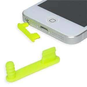 iPhone 5 - 5S - 5C Staubschutz Stöpsel Set PREMIUM QUALITÄT - Headset und Lightning Schutz (NEON GELB / complete)