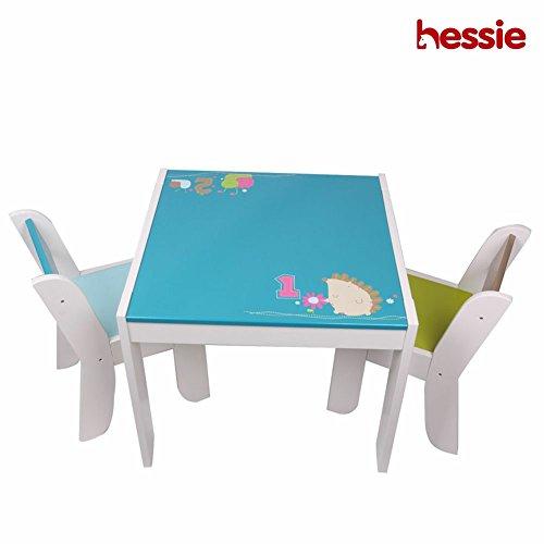 Hessie Kleine Kleinkind Kinder Aktivität Spiel Tisch Stuhl Set, Holz Spielzimmer / Schlafzimmer Vorschule Möbel - Blau Igel