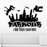 Dalxsh Stadt Silhouette Wandtattoos Jungen Free Running Springen Urban Style Skate Graffiti Kunst Wandaufkleber Finden Sie Ihren Eigenen Weg 60X40Cm