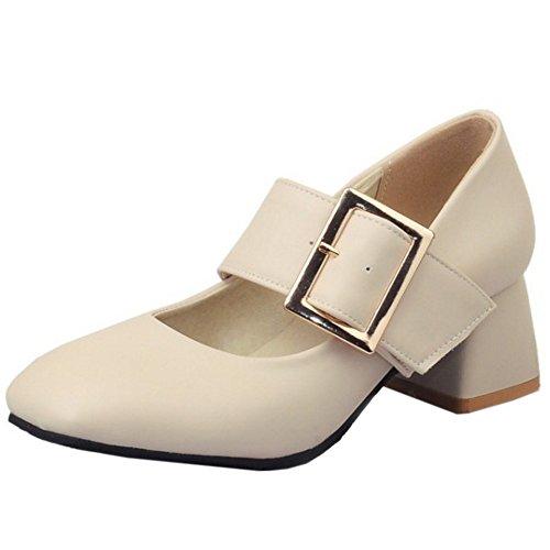 TAOFFEN Damen Classical Blockabsatz Schuhe High Heel Pumps Mit Schnalle Beige