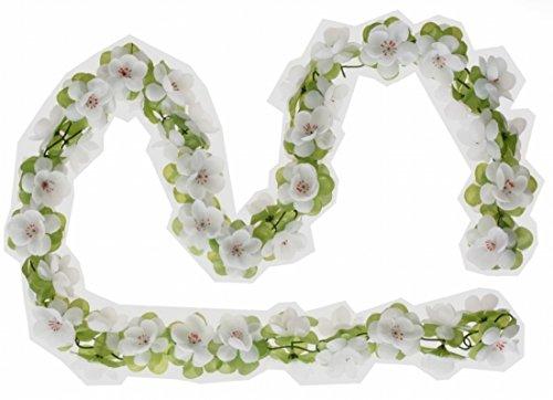 Blumengirlande weiß ~ ca. 130 cm ~ zum verschönern Ihres Fahrrades z.B. für Fahrradkorb , Lenker oder Ihrer Wohnung
