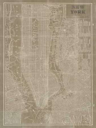 Feeling at Home Feelingathome.it-LEINWANDDRUCK-Blueprint-Map-New-York-Taupe-cm111x84-poster-bild-auf-leinwand (Vintage New-york-city-map)
