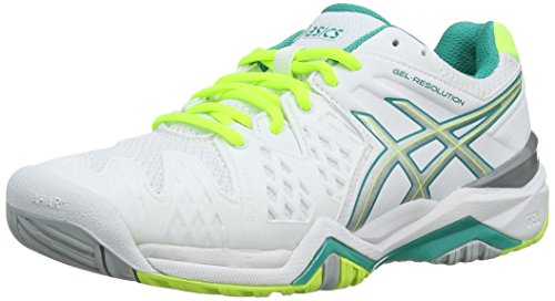 Green Clay Tennis (Asics Gel-Resolution 6, Damen Tennisschuhe, Weiß (White/Emerald Green/Silver 188), 42.5 EU)