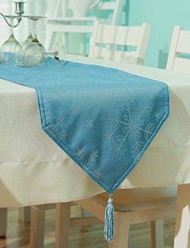 ZCJB Chemin de table Style Européen Solide Couleur Satin Étanche Chemin De Table Moderne Simple Table Basse Table Drapeau Dentelle Restaurant Restaurant Table Pavillon ( Couleur : Bleu , taille : 33*200cm )