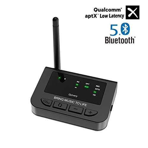 Golvery Ricevitore per trasmettitori Bluetooth 5.0 a lunga portata,aptX HD e musica LL Adattatore audio per TV Audio,sistema Home Stereo,Plug-and-Play,Wired & Wireless Bypass, 3,5 mm AUX RCA Optical