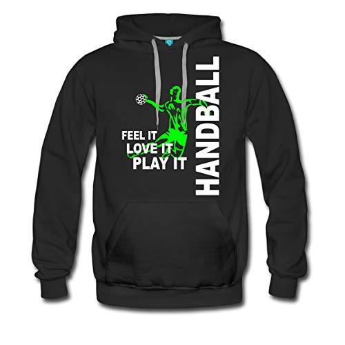 Spreadshirt Handball Feel It Love It Play It Handballer Männer Premium Hoodie, L, Schwarz