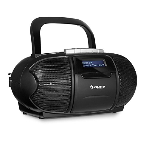 auna BeeBoy DAB Boombox • CD-Radio • Boombox • Kassettenplayer • integrierter CD-Player • Kassettendeck • USB-Port • AUX • LCD • Stereo-Lautsprecher • Netz- / Batterie-Betrieb • Tragegriff • schwarz