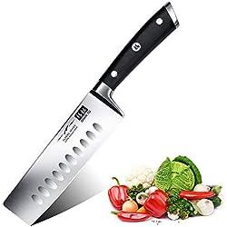 SHAN ZU Couteau de Cuisine Nakiri, Couteau à Légumes, Couteau Japonais de 16,5 cm, Couteau de Chef Professionnel en Acier Inoxydable Allemand, Manche en Bois de Pakka