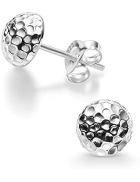 Silvinity 925 Silber Ohrstecker Damen klein 6mm - Echt Silber Ohrringe rund Stecker gehämmert inkl. Etui #SV-254-K
