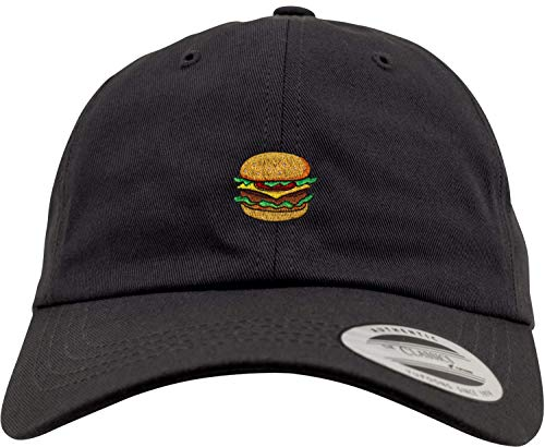 New Flexfit Basecap: Burger - Low Profile/Urban Cap/Hip-Hop Rap Kappe/USA/Emoticon/Emoji/Lutig-e Koch-Mütze/Pink/Rosa/Herren & Damen/Schirm/Patch (Schwarz)
