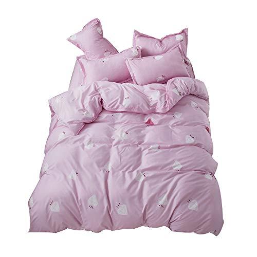 Fansu set di biancheria da letto 4 pezzi, microfibra set copripiumino per letto matrimoniale chiusura a zip con lenzuola piane e 2 federe (220x240cm,muratura rosa)
