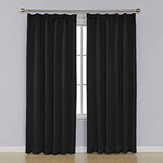 Umi. Essentials Thermal Insulated Pencil Pleat Blackout Curtains Energy Saving Super Soft Rod Pocket Curtains Black 55 x 96 Inch 1 Pair
