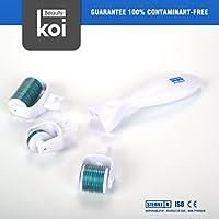 Koi Beauty 3 in 1 Micro ago Derma Roller, Trattamento di Acne Cicatrici, Anti Invecchiamento e Smagliature, Rughe180,600,1200 aghi con testa. 1.0mm