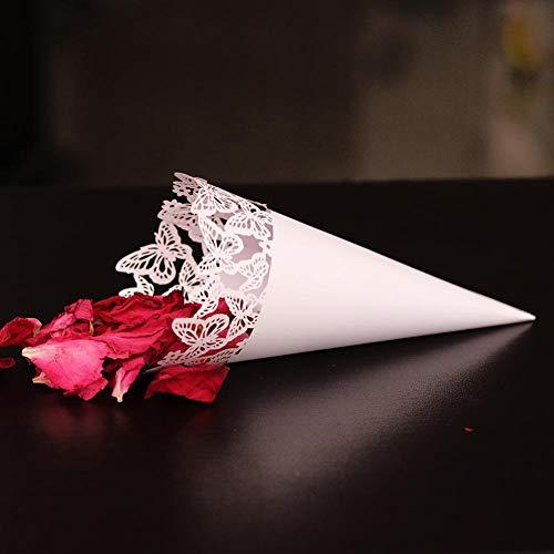 Sumshy 150 pz coni riso di farfalle, taglio laser squisito coni cono portariso, fai da te coni per confettata, portaconfetti, petalo, segnaposto bomboniere per matrimonio, comunione, battesimo
