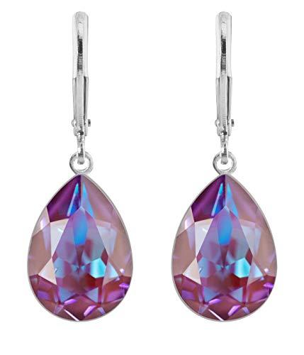 petra kupfer Damen Ohrringe Ohrhänger Tropfen Anhänger 1 Swarovski®-Kristall Weinrot mit Blau-Effekten rdh1-burgundy deLite -