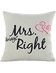Funda de almohada, hmlai romántico día de San Valentín MR. RIGHT & Mrs Right lino almohada sofá cintura Throw Cojín para su amante, Mrs Right