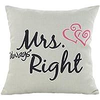 Hmlai Funda de almohada, romántico día de San Valentín MR. RIGHT & Mrs Right lino almohada sofá cintura Throw Cojín para su amante, Mrs Right
