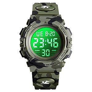 Digitaluhr für Jungen, wasserdichte Sport Uhr Kinder Uhren mit Wecker/Stoppuhr/12-24H, Elektronische Kinderuhren LED Armbanduhr für Junior Teenager Junge – Tarnen