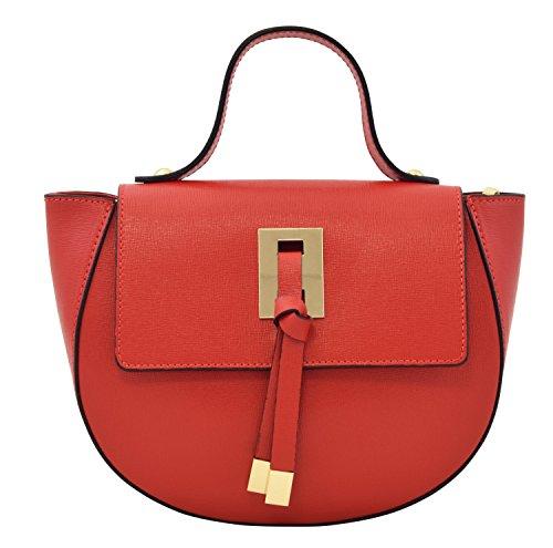 DELIA Handtasche Italienische Henkeltaschen Schultertaschen Echtes Leder Made in Italy Rot